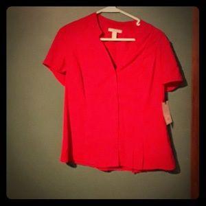 Beautiful  red silky blouse but Dana buchman MED